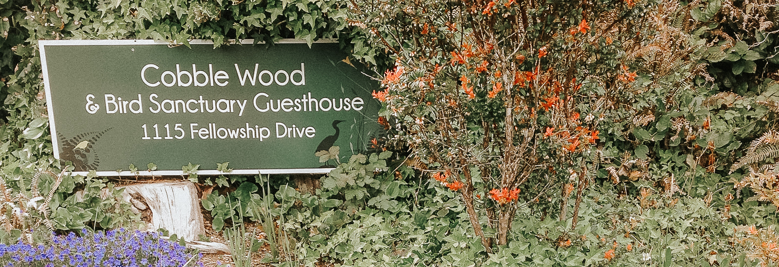 Cobble Wood & Bird Sanctuary Guesthouses welcome sign
